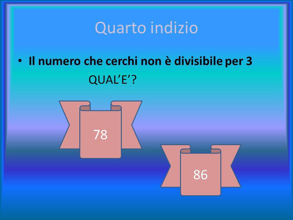 terzo indizio Non è il numero più piccolo QUINDI ESCLUDI… 76 78 86