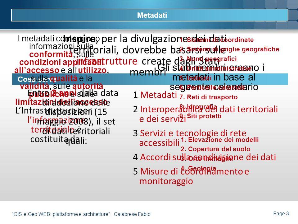 Page 3 GIS e Geo WEB: piattaforme e architetture - Calabrese Fabio Cosa serve Inspire, per la divulgazione dei dati territoriali, dovrebbe basarsi sul