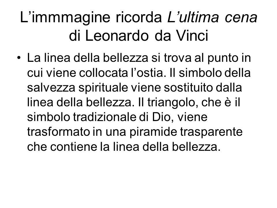 Limmmagine ricorda Lultima cena di Leonardo da Vinci La linea della bellezza si trova al punto in cui viene collocata lostia. Il simbolo della salvezz