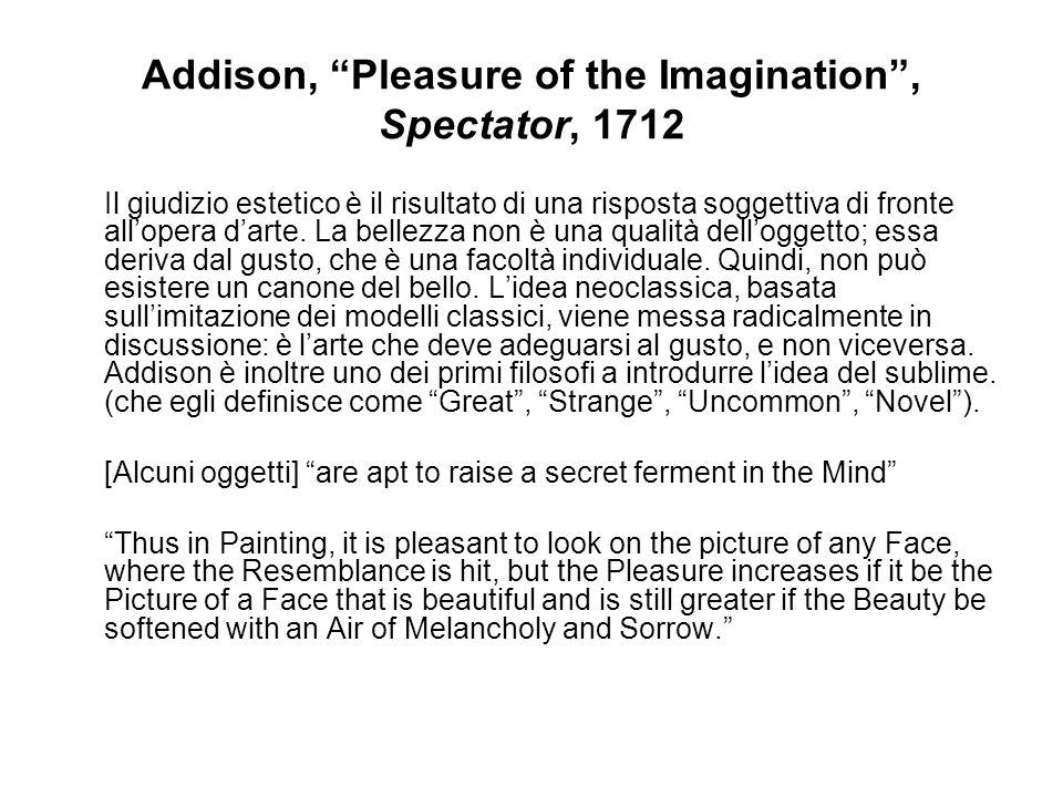 Addison, Pleasure of the Imagination, Spectator, 1712 Il giudizio estetico è il risultato di una risposta soggettiva di fronte allopera darte. La bell