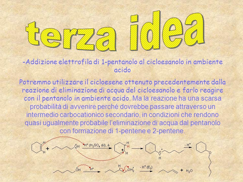 -Addizione elettrofila di 1-pentanolo al cicloesanolo in ambiente acido Potremmo utilizzare il cicloesene ottenuto precedentemente dalla reazione di e