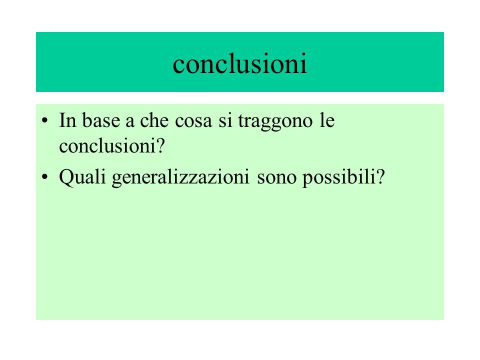 conclusioni In base a che cosa si traggono le conclusioni Quali generalizzazioni sono possibili