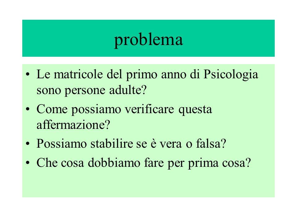 problema Le matricole del primo anno di Psicologia sono persone adulte.