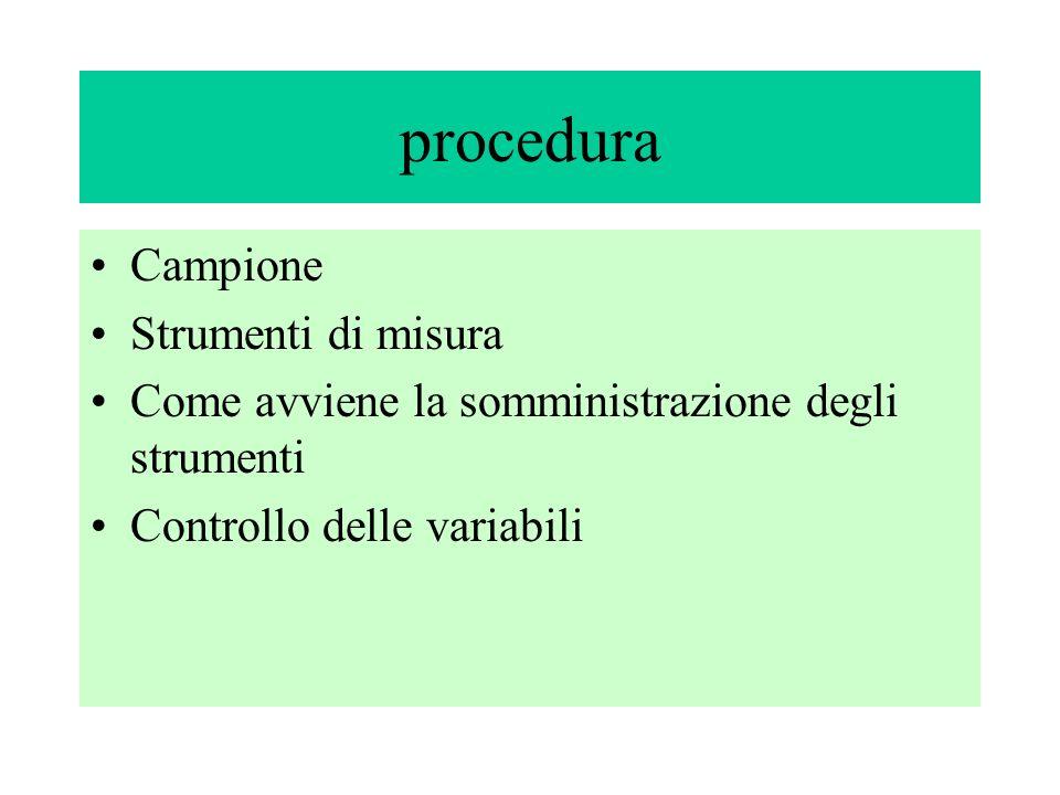 procedura Campione Strumenti di misura Come avviene la somministrazione degli strumenti Controllo delle variabili