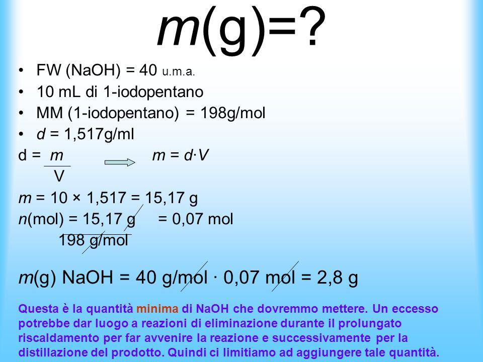 Per iniziare questa esperienza abbiamo bisogno di alcuni dati: -volume in mL di 1-iodopentano -massa in grammi di NaOH -Noi abbiamo come dati in ingre