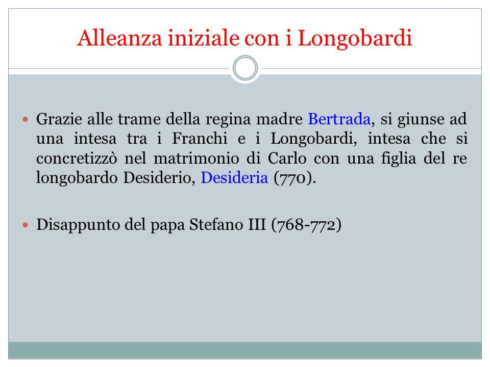 Guerra con i Longobardi Dopo un anno, però, Carlo ripudiò la principessa longobarda.