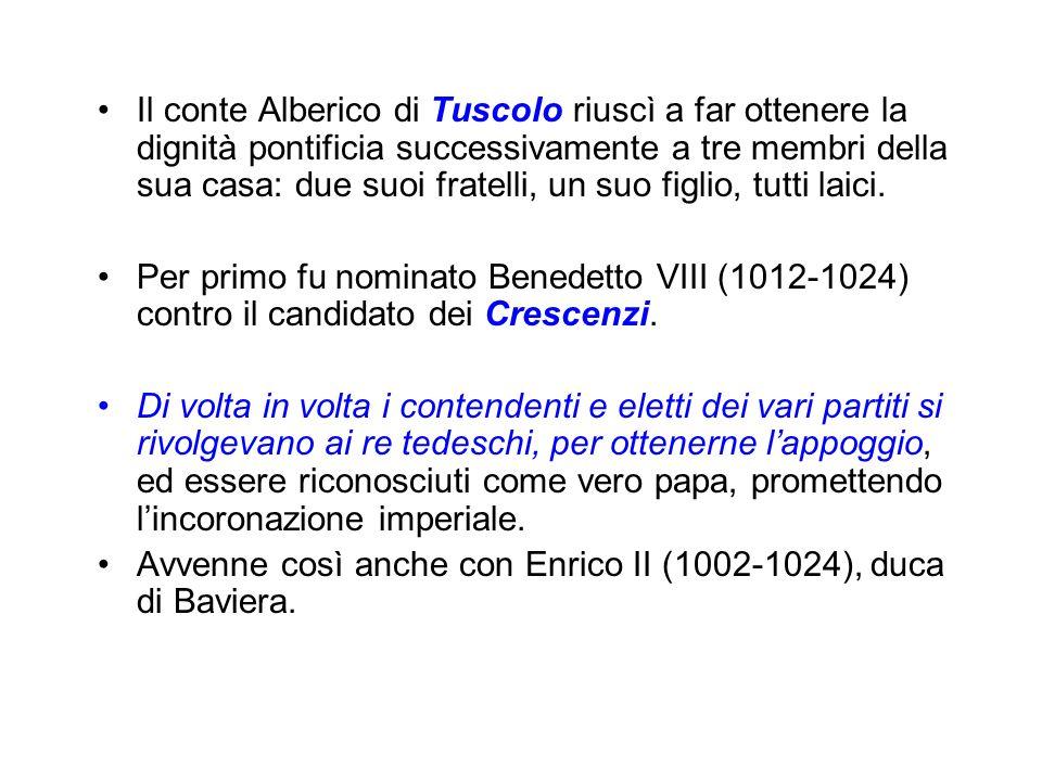 Il conte Alberico di Tuscolo riuscì a far ottenere la dignità pontificia successivamente a tre membri della sua casa: due suoi fratelli, un suo figlio