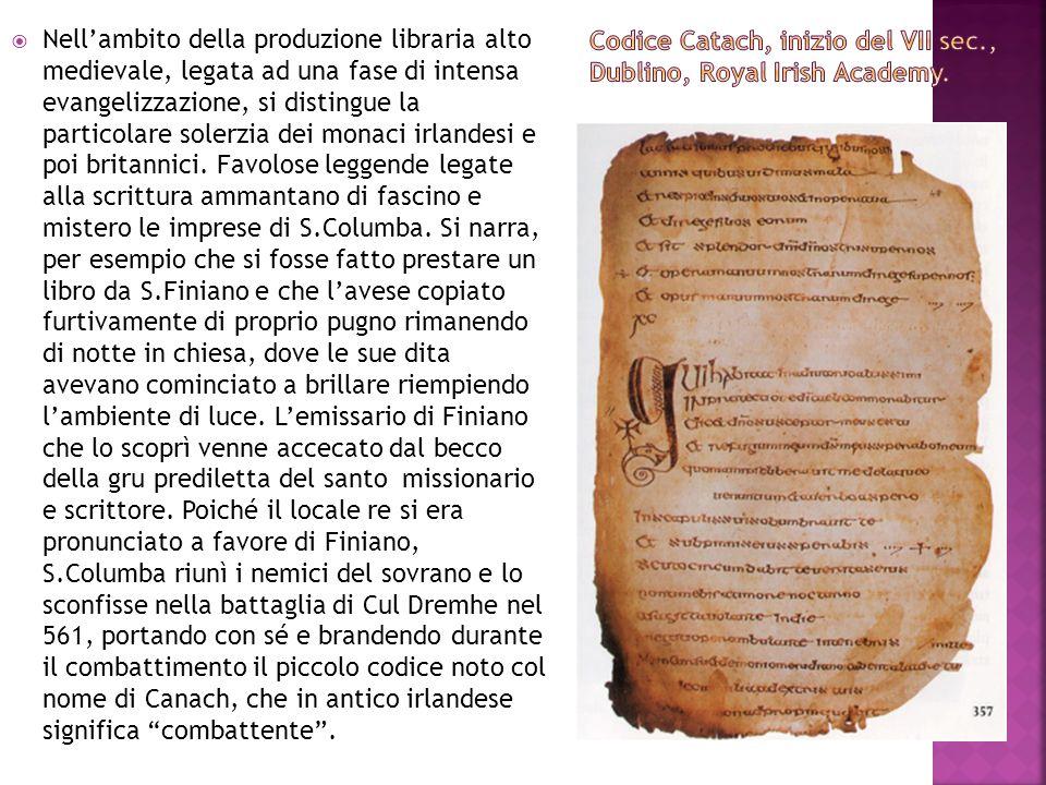 Nellambito della produzione libraria alto medievale, legata ad una fase di intensa evangelizzazione, si distingue la particolare solerzia dei monaci i