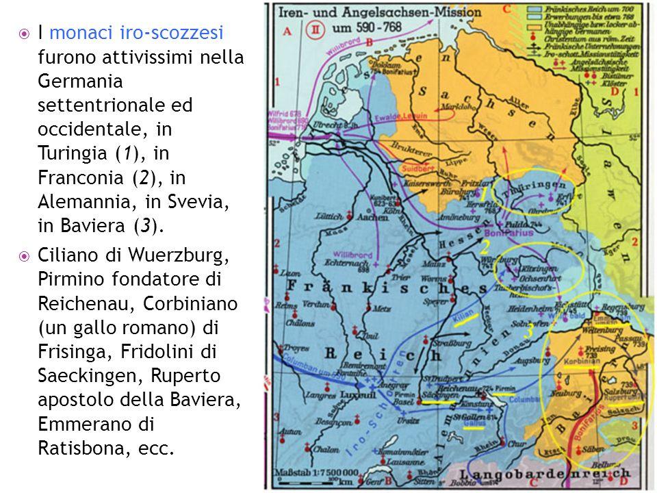 I monaci iro-scozzesi furono attivissimi nella Germania settentrionale ed occidentale, in Turingia (1), in Franconia (2), in Alemannia, in Svevia, in