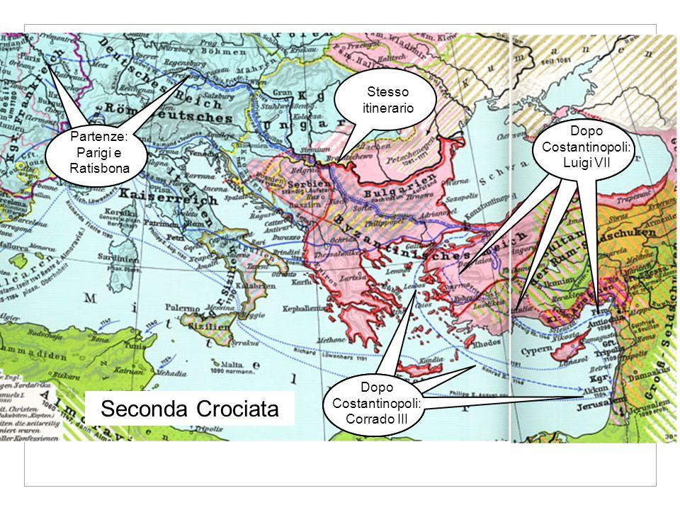 Dopo Costantinopoli: Luigi VII Dopo Costantinopoli: Corrado III Stesso itinerario Seconda Crociata Partenze: Parigi e Ratisbona