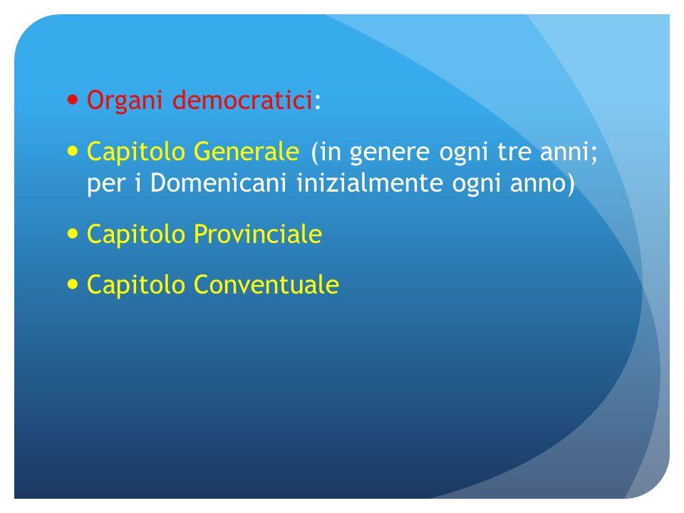 Organi democratici: Capitolo Generale (in genere ogni tre anni; per i Domenicani inizialmente ogni anno) Capitolo Provinciale Capitolo Conventuale