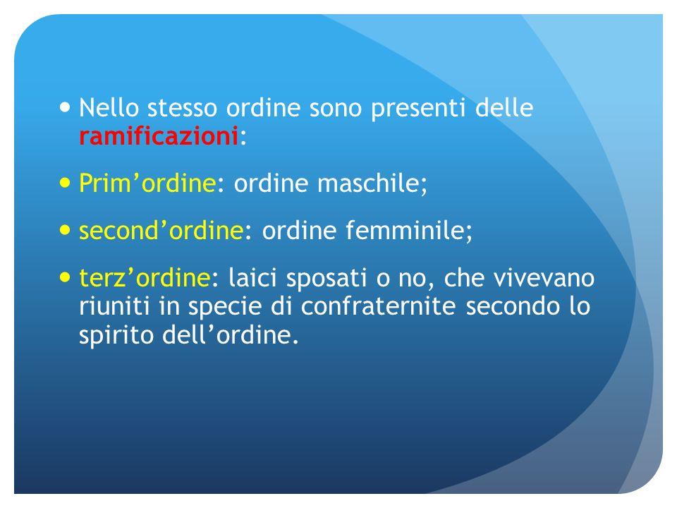 Nello stesso ordine sono presenti delle ramificazioni: Primordine: ordine maschile; secondordine: ordine femminile; terzordine: laici sposati o no, ch