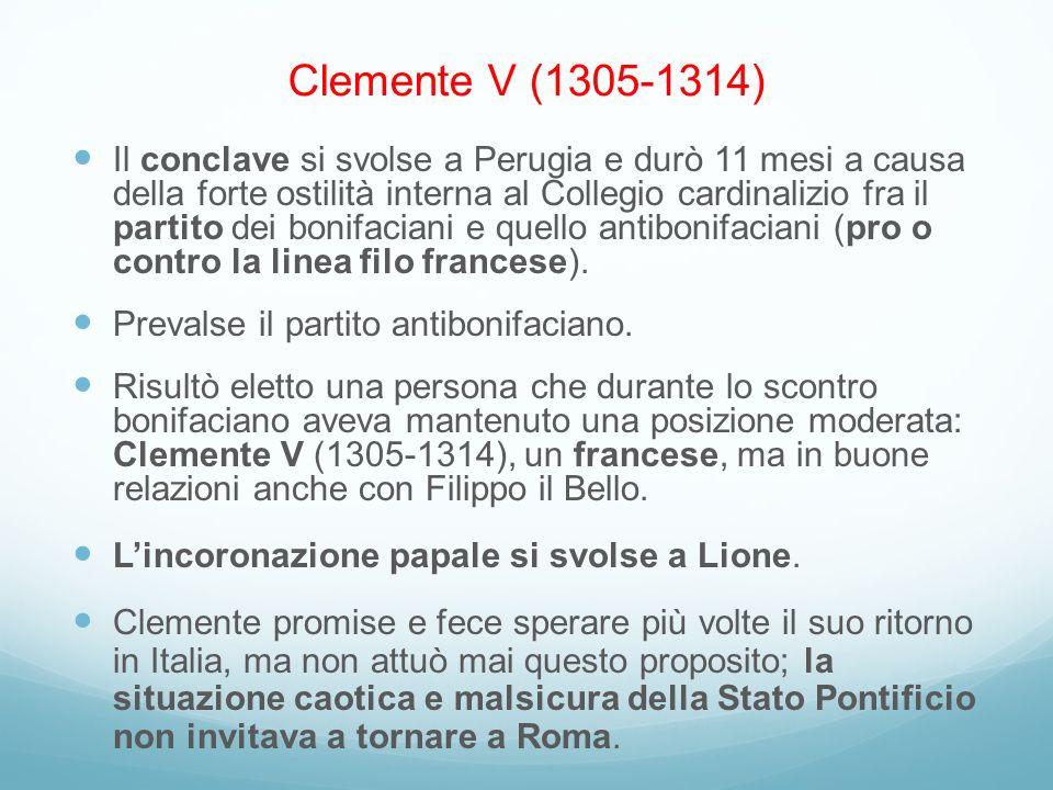Il conclave si svolse a Perugia e durò 11 mesi a causa della forte ostilità interna al Collegio cardinalizio fra il partito dei bonifaciani e quello a