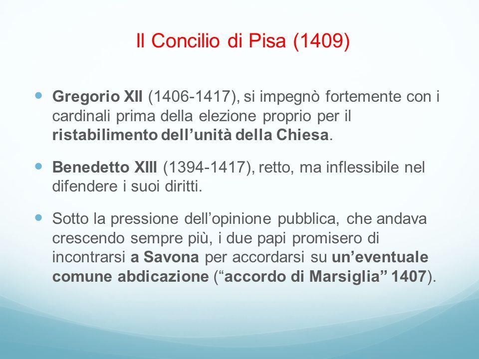 Gregorio XII (1406-1417), si impegnò fortemente con i cardinali prima della elezione proprio per il ristabilimento dellunità della Chiesa. Benedetto X