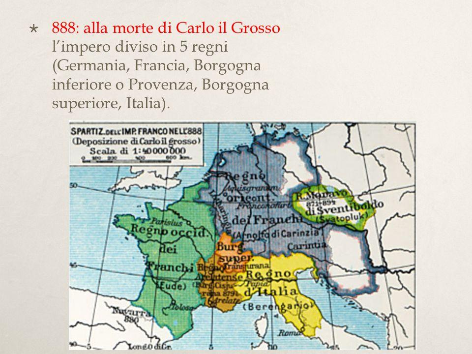 Con la morte di Carlo il Grosso (+888) ecco pullulare in tutta Europa, nellantico impero di Carlo, i piccoli re senza autorità: Arnolfo che si impianta in Alemagna; Berengario del Friuli si proclama re dItalia; Rodolfo, figlio di Corrado, si proclama re della Borgogna settentrionale; Ludovico, figlio di Bosone, si fa re della Borgogna meridionale (o Provenza); Guido di Spoleto, poneva la sua candidatura a re della Francia; Oddone usurpa il governo della Francia, mentre Ramnulfo, duca di Aquitania, si dichiarava anche lui re della Francia.
