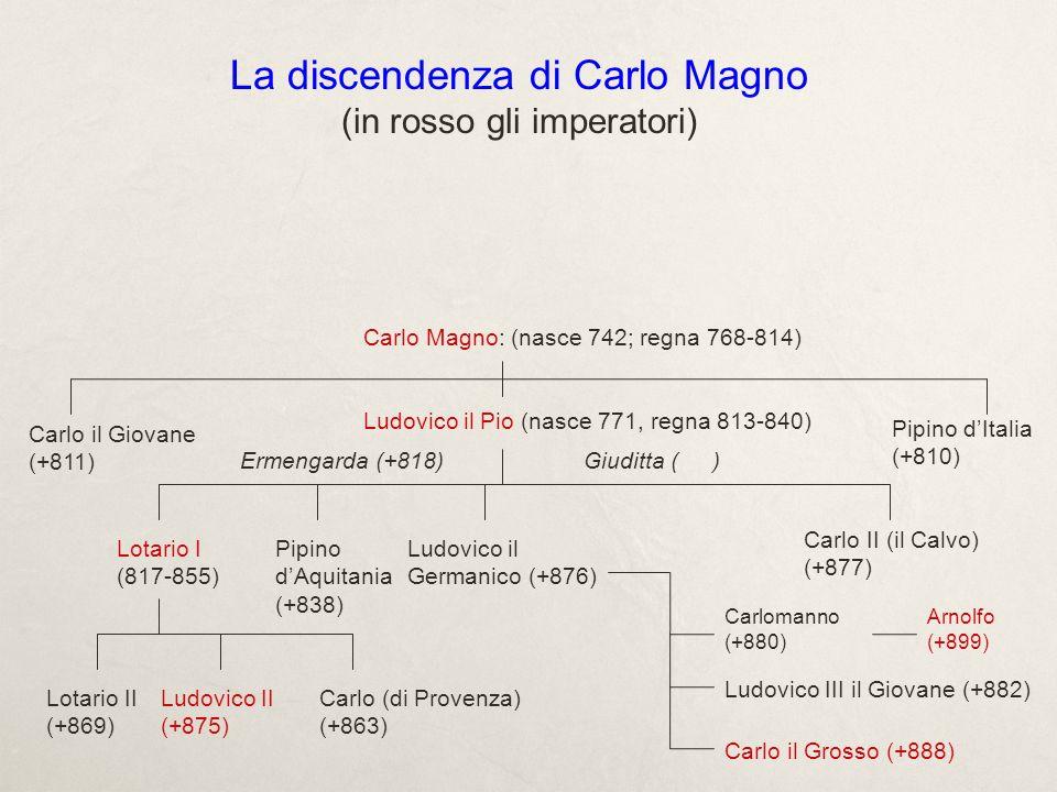 Limpero 806: Ordinatio Imperii da parte di Carlo Magno tra i suoi tre figli: il sovrano invecchiato riteneva urgente regolare la propria successione secondo lantica usanza germanica, quella di dividere i regni tra i figli.