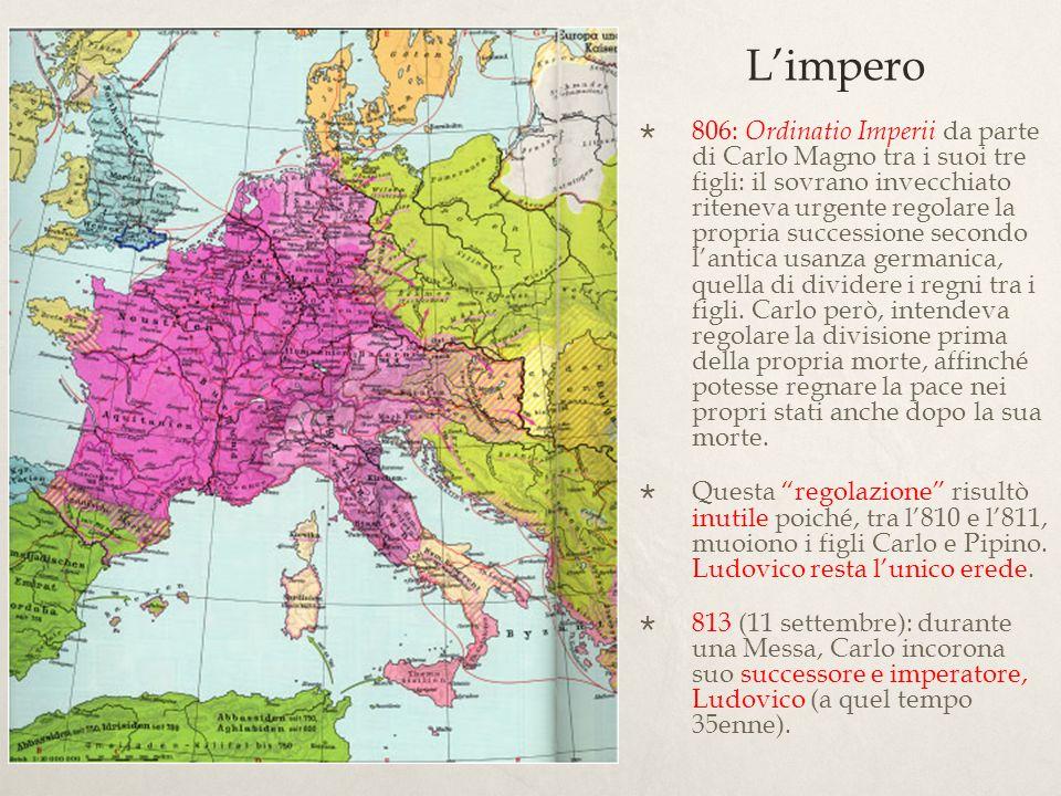 Mentre nellincoronazione del Natale dell800 Carlo riceveva il titolo di imperatore per decisione e volontà del papa Leone, ora Ludovico riceveva il titolo per decisione del padre.