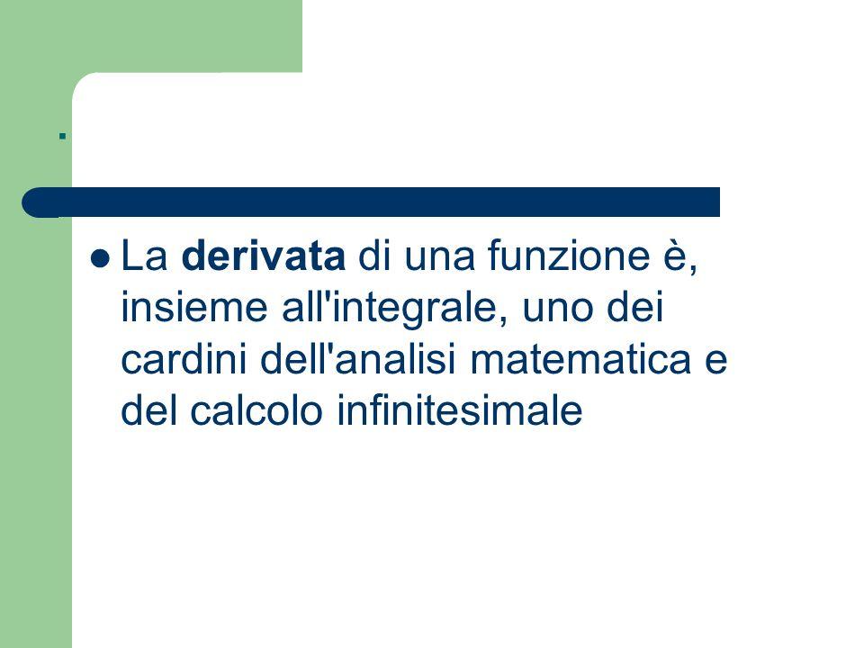 . La derivata di una funzione è, insieme all'integrale, uno dei cardini dell'analisi matematica e del calcolo infinitesimale