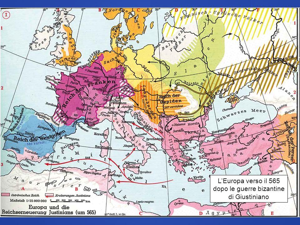 LEuropa verso il 565 dopo le guerre bizantine di Giustiniano