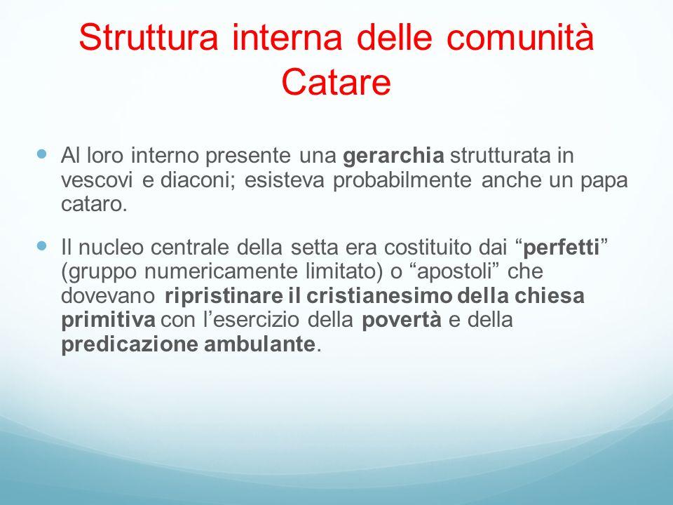 Struttura interna delle comunità Catare Al loro interno presente una gerarchia strutturata in vescovi e diaconi; esisteva probabilmente anche un papa