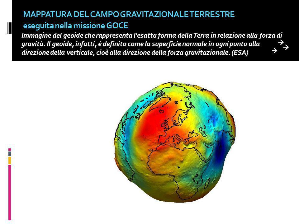 MAPPATURA DEL CAMPO GRAVITAZIONALE TERRESTRE eseguita nella missione GOCE Immagine del geoide che rappresenta l'esatta forma della Terra in relazione