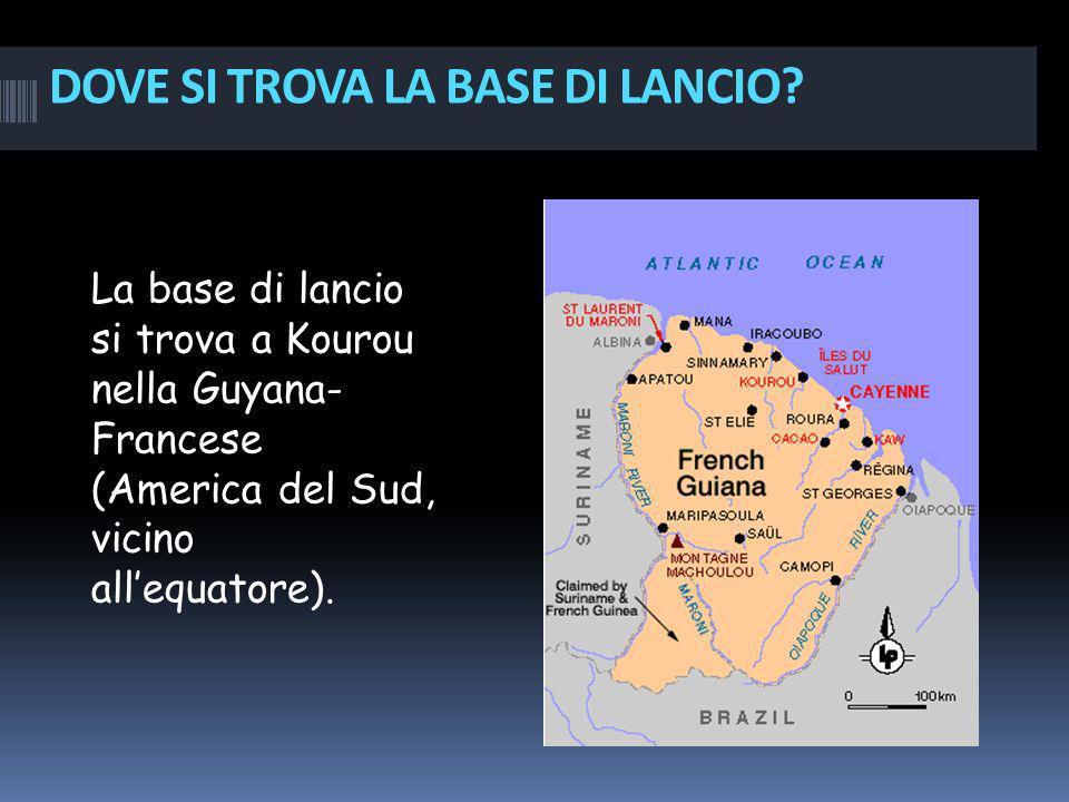 DOVE SI TROVA LA BASE DI LANCIO? La base di lancio si trova a Kourou nella Guyana- Francese (America del Sud, vicino allequatore).