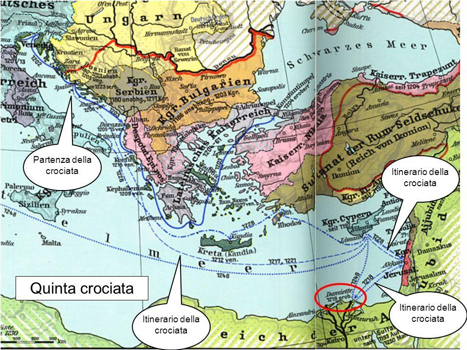 Quinta crociata Itinerario della crociata Partenza della crociata Itinerario della crociata