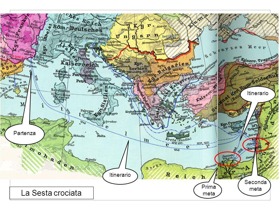 Partenza La Sesta crociata Itinerario Seconda meta Prima meta