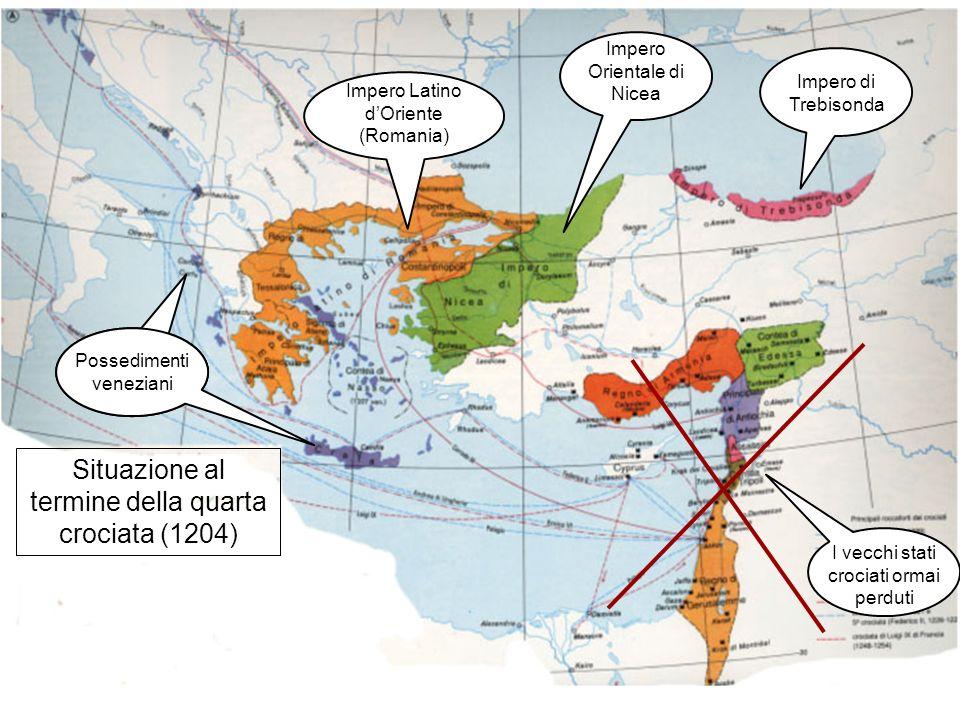 Situazione al termine della quarta crociata (1204) I vecchi stati crociati ormai perduti Possedimenti veneziani Impero Latino dOriente (Romania) Imper