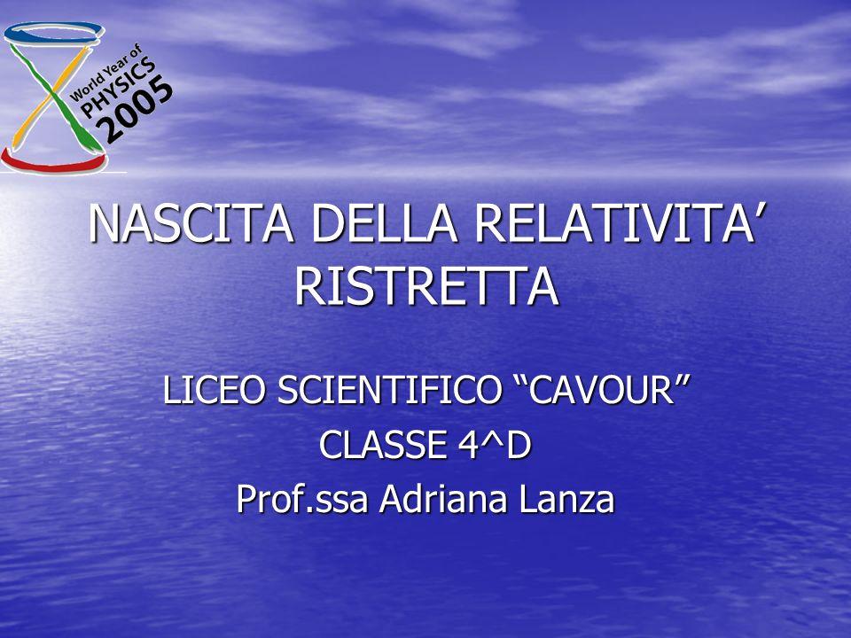 NASCITA DELLA RELATIVITA RISTRETTA LICEO SCIENTIFICO CAVOUR CLASSE 4^D Prof.ssa Adriana Lanza