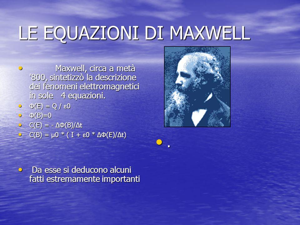 LE EQUAZIONI DI MAXWELL Maxwell, circa a metà '800, sintetizzò la descrizione dei fenomeni elettromagnetici in sole 4 equazioni. Maxwell, circa a metà