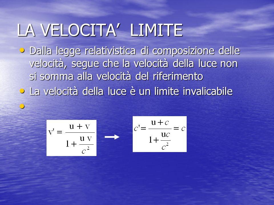 LA VELOCITA LIMITE Dalla legge relativistica di composizione delle velocità, segue che la velocità della luce non si somma alla velocità del riferimen