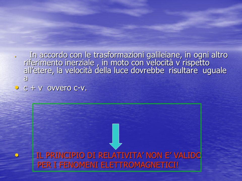 In accordo con le trasformazioni galileiane, in ogni altro riferimento inerziale, in moto con velocità v rispetto alletere, la velocità della luce dov