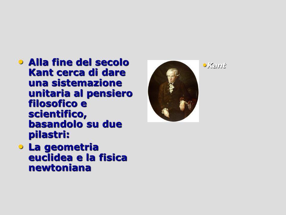 Alla fine del secolo Kant cerca di dare una sistemazione unitaria al pensiero filosofico e scientifico, basandolo su due pilastri: Alla fine del secol