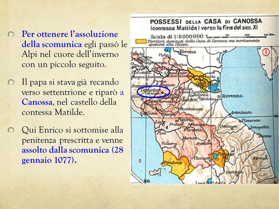 Per ottenere lassoluzione della scomunica egli passò le Alpi nel cuore dellinverno con un piccolo seguito. Il papa si stava già recando verso settentr