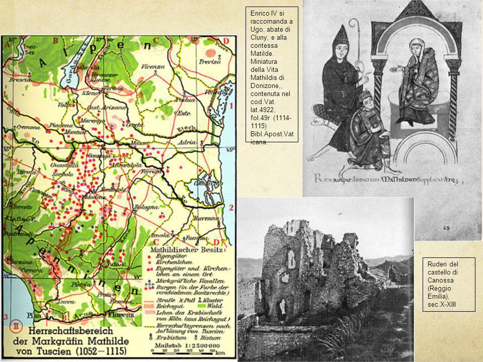 Enrico IV si raccomanda a Ugo, abate di Cluny, e alla contessa Matilde. Miniatura della Vita Mathildis di Donizone,, contenuta nel cod.Vat. lat.4922,