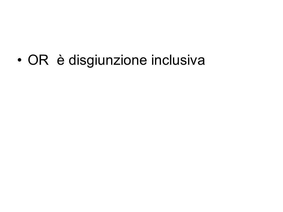 La disgiunzione inclusiva e la disgiunzione esclusiva La parola italiana o è ambigua in quanto ha due significati connessi ma distinguibili. > inclusi