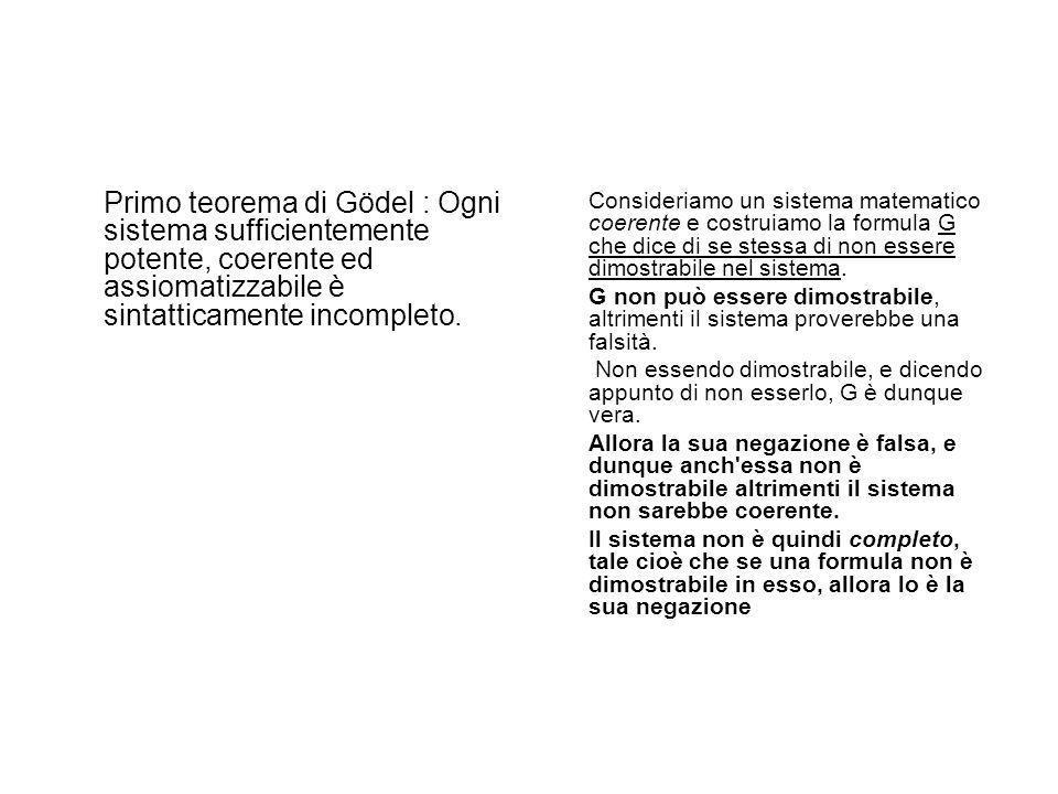 Ma già nel 1931 Kurt Gödel, con i suoi teoremi di incompletezza, aveva dato un colpo esiziale al programma hilbertiano, mostrando sostanzialmente l'in