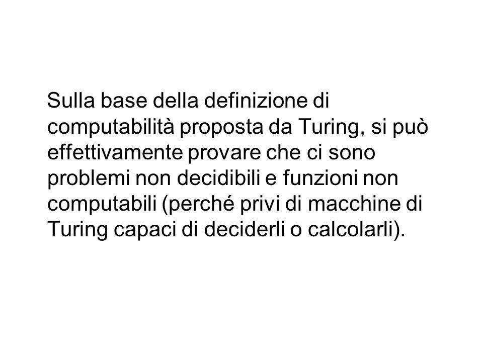 FUNZIONI NON CALCOLABILI Per lo stesso motivo se P(x) non è decidibile la funzione definita precedentemente risulta non calcolabile Una MdT che tentas