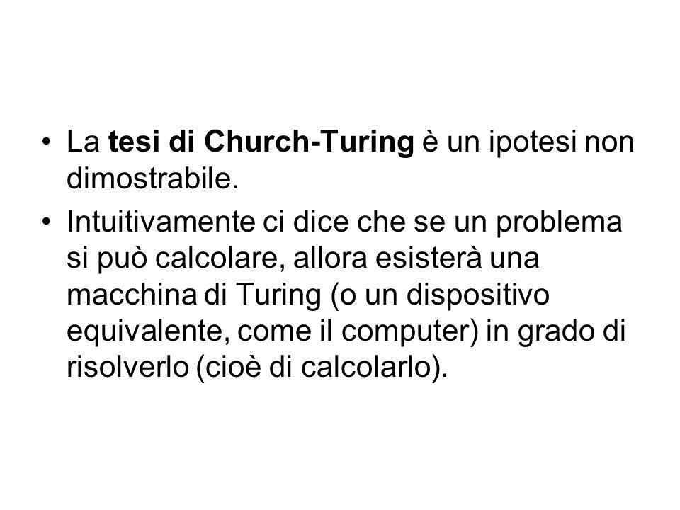 TESI DI CHURCH-TURING OGNI FUNZIONE CALCOLABILE E TURING-CALCOLABILE