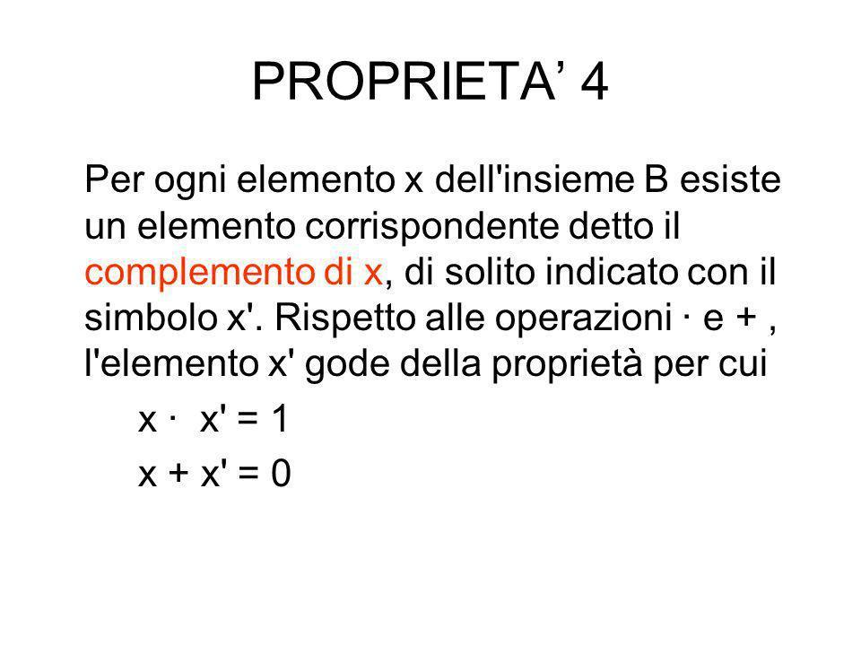 PROPRIETA 3 Nell'insieme B esistono due particolari elementi, indicati generalmente con i simboli 0 e 1, tali che 1 x = x e 0 + x = x per ogni element