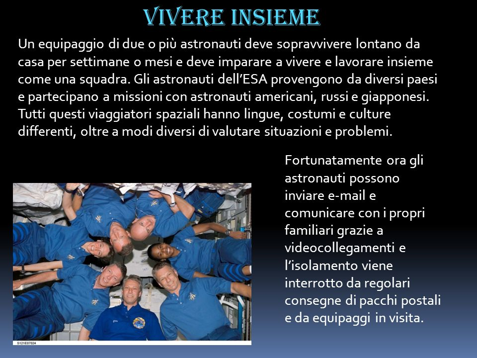 Un equipaggio di due o più astronauti deve sopravvivere lontano da casa per settimane o mesi e deve imparare a vivere e lavorare insieme come una squa