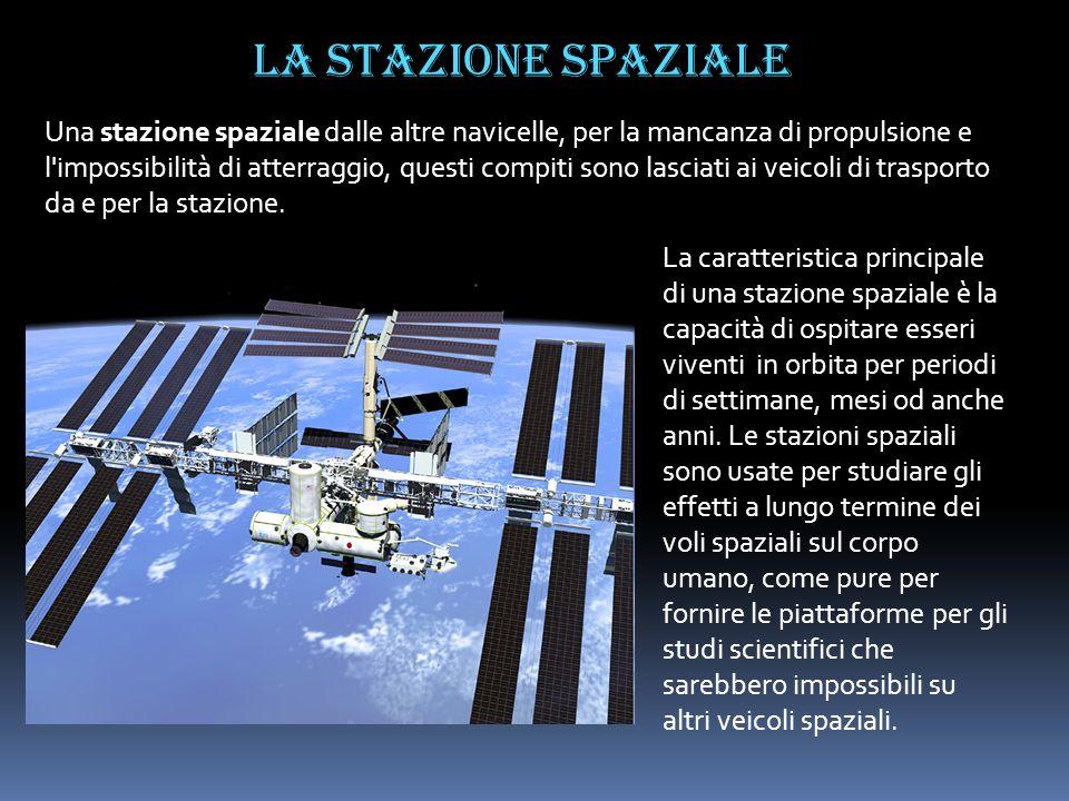 La stazione spaziale Una stazione spaziale dalle altre navicelle, per la mancanza di propulsione e l'impossibilità di atterraggio, questi compiti sono