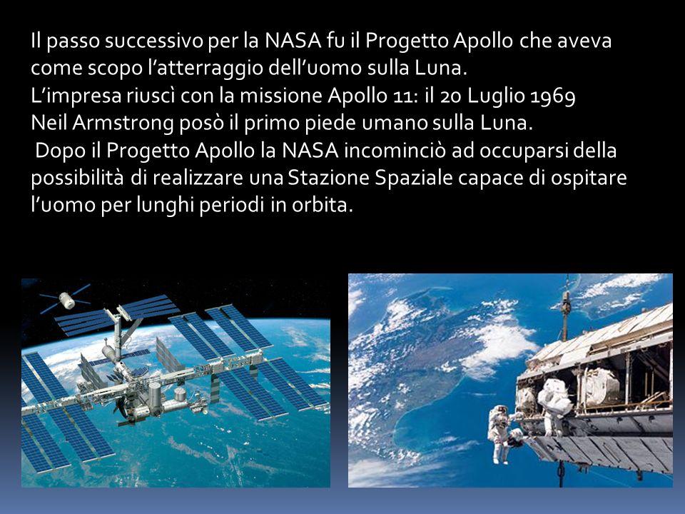 Il passo successivo per la NASA fu il Progetto Apollo che aveva come scopo latterraggio delluomo sulla Luna. Limpresa riuscì con la missione Apollo 11