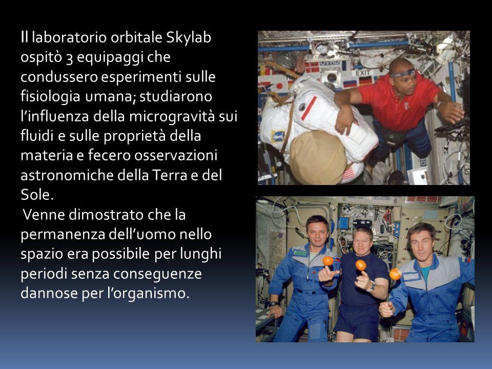 Il laboratorio orbitale Skylab ospitò 3 equipaggi che condussero esperimenti sulle fisiologia umana; studiarono linfluenza della microgravità sui flui