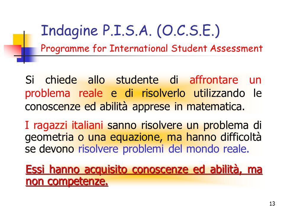 13 Indagine P.I.S.A. (O.C.S.E.) Programme for International Student Assessment Si chiede allo studente di affrontare un problema reale e di risolverlo