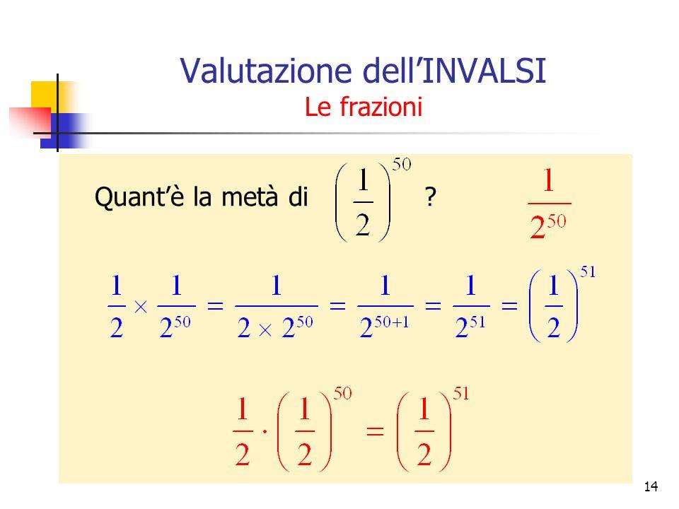 Valutazione dellINVALSI Le frazioni Quantè la metà di ? 14