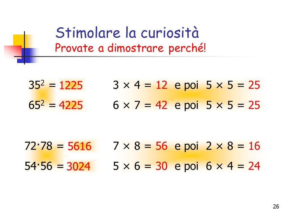 26 Stimolare la curiosità Provate a dimostrare perché! 35 2 = 65 2 = 3 × 4 = 12 e poi 5 × 5 = 25 6 × 7 = 42 e poi 5 × 5 = 25 72·78 = 54·56 = 7 × 8 = 5