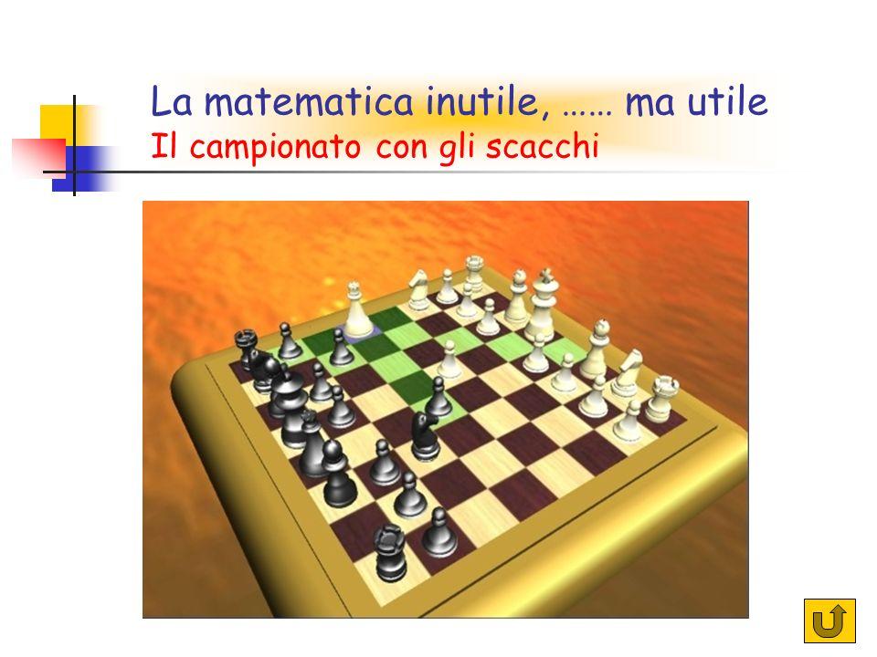 32 La matematica inutile, …… ma utile Il campionato con gli scacchi