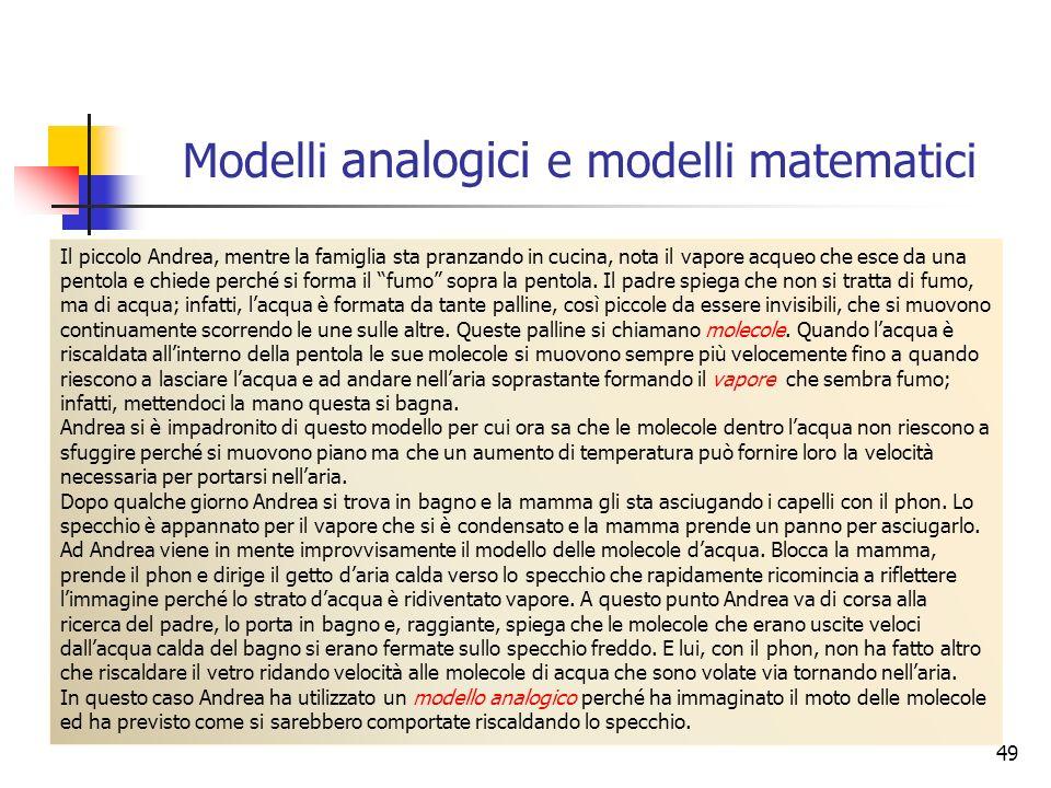 Modelli analogici e modelli matematici 49 Il piccolo Andrea, mentre la famiglia sta pranzando in cucina, nota il vapore acqueo che esce da una pentola